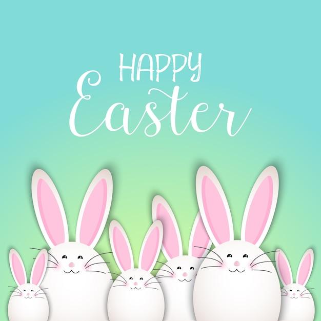 かわいいウサギのウサギとイースターの背景 無料ベクター