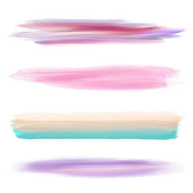 イラストレーターのための4つの異なる水彩ブラシのコレクション 無料ベクター