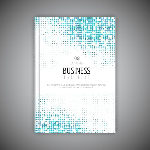 ハーフトーンドットデザインのビジネスパンフレットテンプレート 無料ベクター
