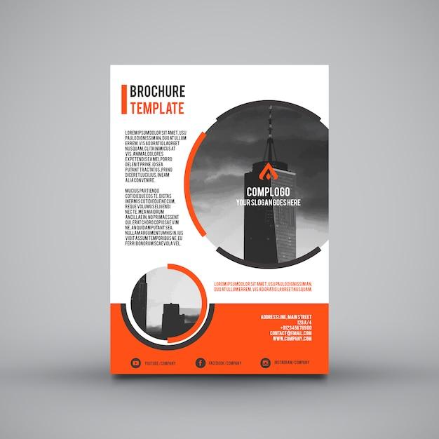 オレンジ企業のパンフレット 無料ベクター