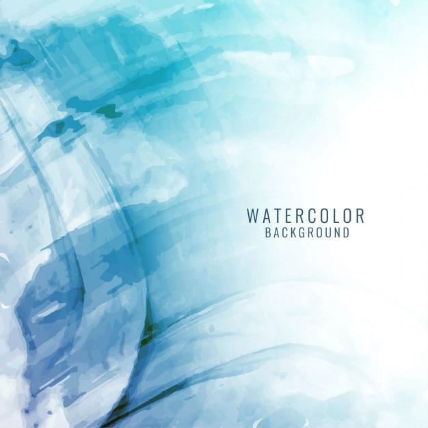 美しいエレガントな青色の水彩画の背景 無料ベクター