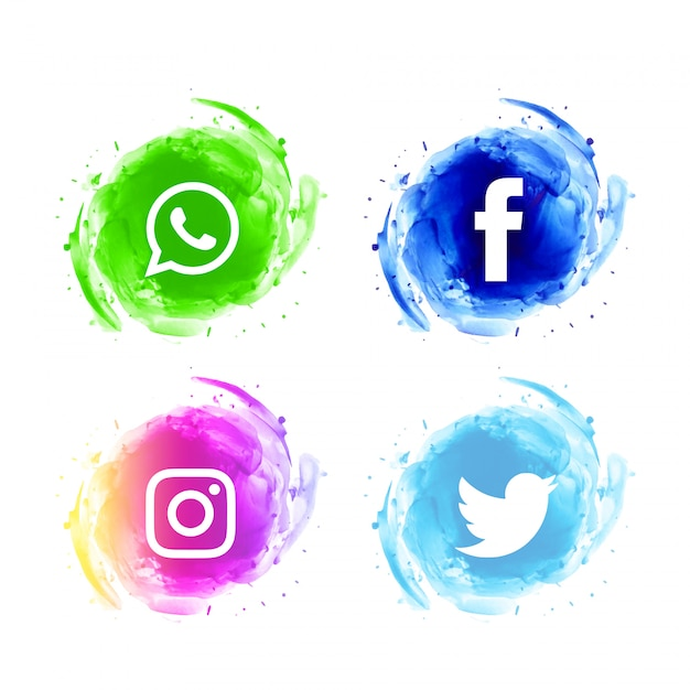 抽象的なソーシャルメディアの水彩アイコンセット 無料ベクター