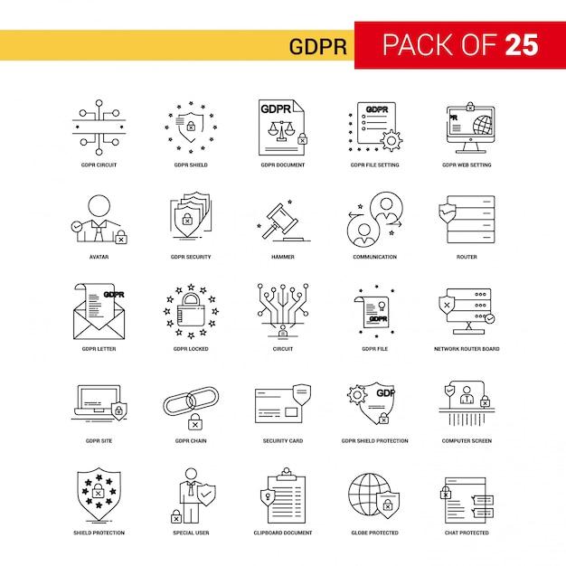 GDPRブラックラインアイコン -  25ビジネス概要アイコンセット 無料ベクター