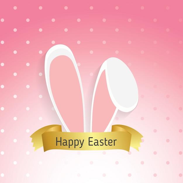 ピンクの背景イラスト、隔離された、ウサギの耳イースターマスク 無料ベクター