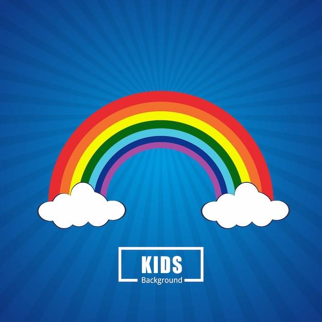色の虹と雲 無料ベクター