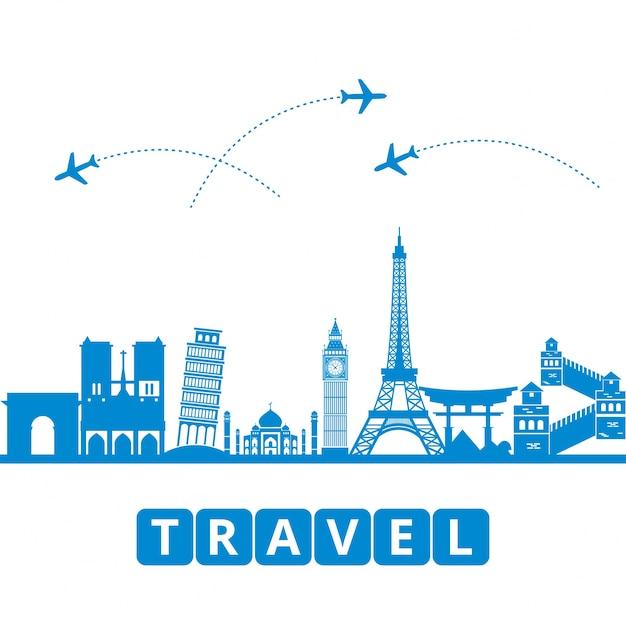 ラヴェル、観光、輸送世界のランドマークを背景に 無料ベクター