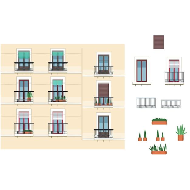 建物ファサードフランス建築 Premiumベクター