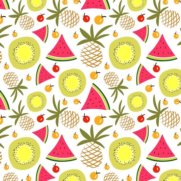 夏のフルーツパターン 無料ベクター