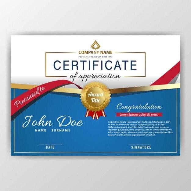 роскошный синий сертификат Бесплатные векторы