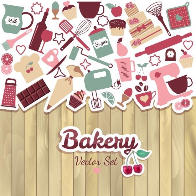 パンやお菓子抽象イラスト 無料ベクター