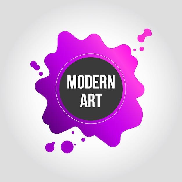 ピンクと紫のスプラッシュモダンアートバナーデザイン 無料ベクター