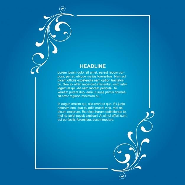 青い背景にエレガントな花のフレーム 無料ベクター