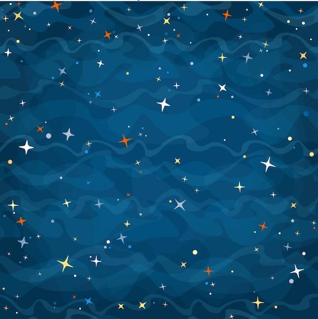 カラフルな星の夜星空のベクトル図を持つ漫画の空間のシームレスな背景 無料ベクター