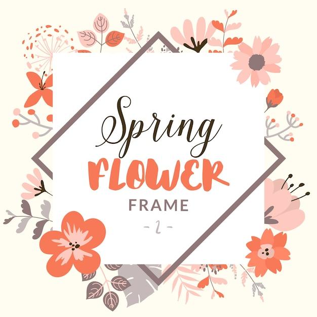 装飾的な春の花を持つ長方形の枠 無料ベクター