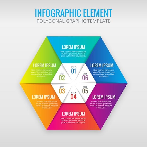 多角形のインフォグラフィックテンプレートデザイン 無料ベクター