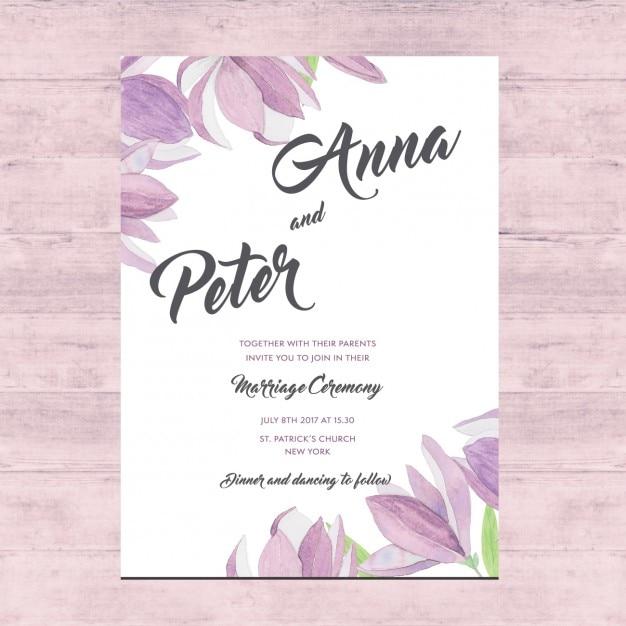 花の結婚式のカードのデザイン 無料ベクター