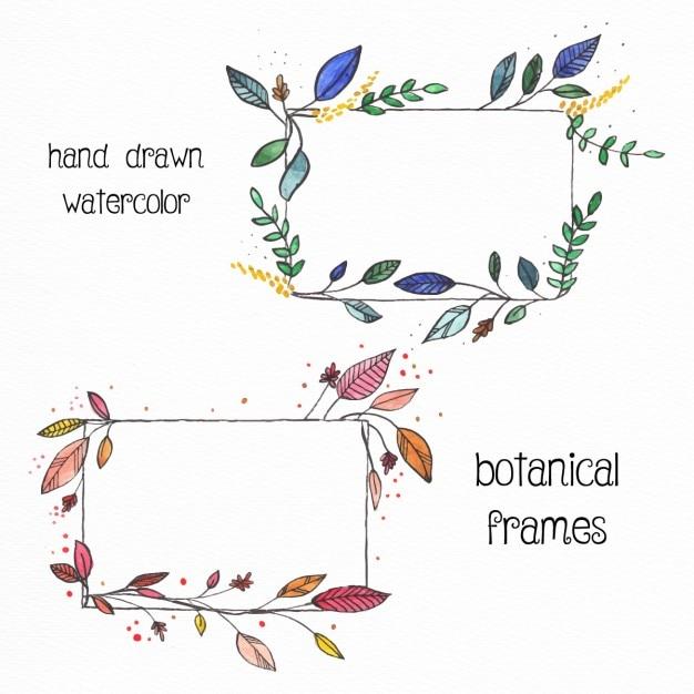 水彩画と2手描きの花のフレーム 無料ベクター
