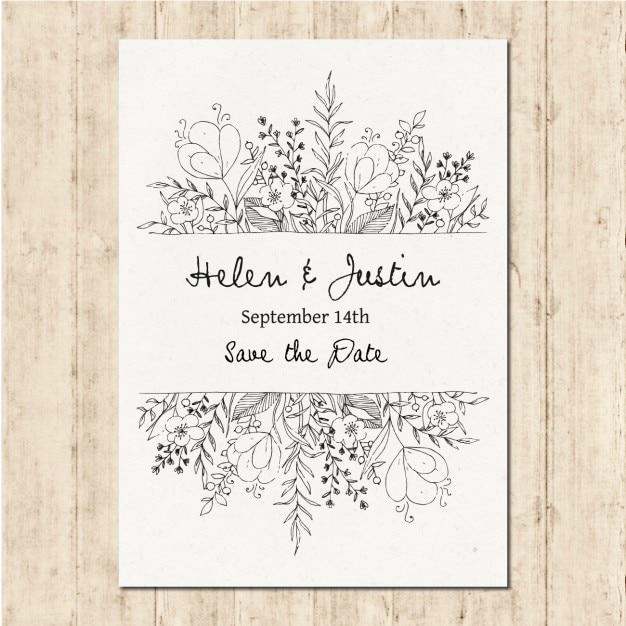 手描きの結婚式の招待状 無料ベクター