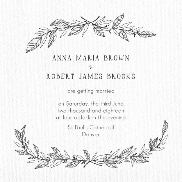結婚式の招待状のための花手描きフレーム 無料ベクター