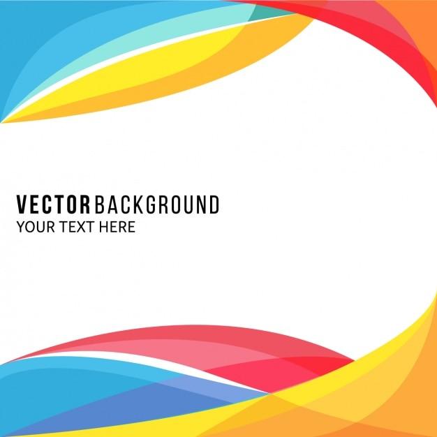 波状形状のアメージングフルカラー背景 無料ベクター