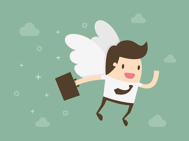 翼を持つビジネスマン 無料ベクター