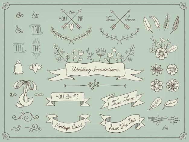 手描きの結婚式の要素 無料ベクター