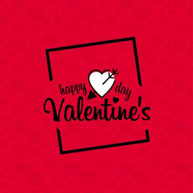 赤いパターンの背景とハッピーバレンタインデー 無料ベクター