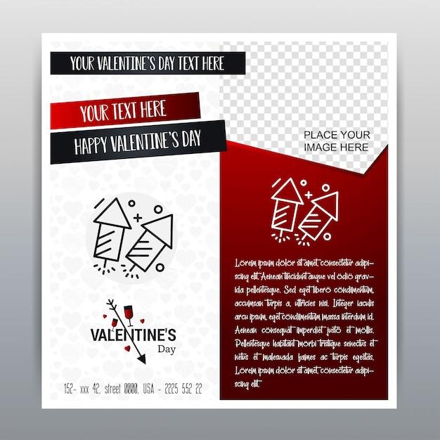 С Днем Святого Валентина Красный значок Вертикальный баннер Красный фон. Векторная иллюстрация Бесплатные векторы