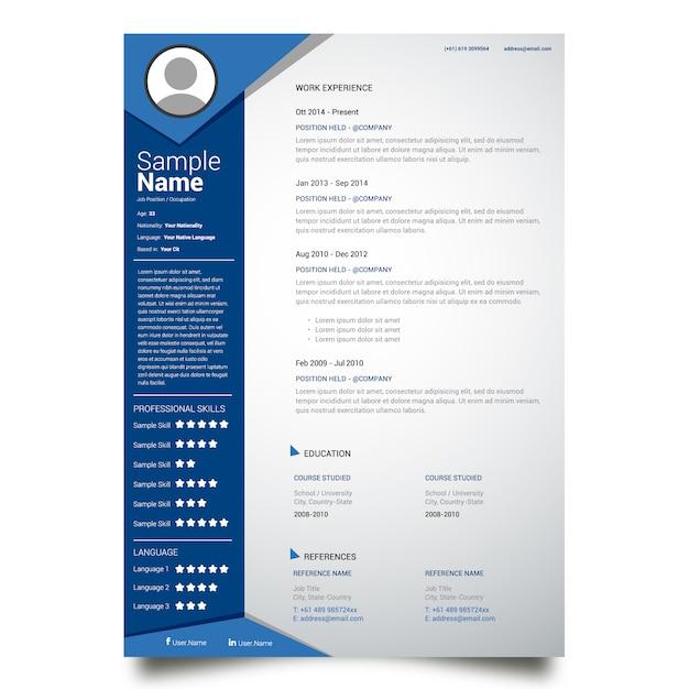 カリキュラムのテンプレートデザイン 無料ベクター