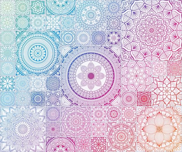 マンダラとレインボー民族の花のシームレスなパターン 無料ベクター