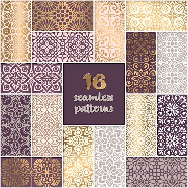 エスニックフラワーシームレスパターンコレクション抽象的な装飾パターン 無料ベクター