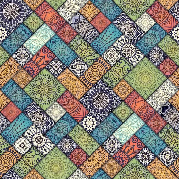 エスニックフラワーシームレスパターン抽象的な装飾模様 無料ベクター