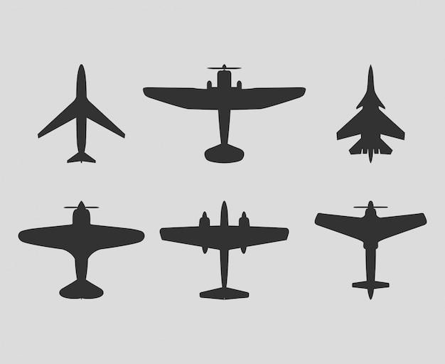 ベクトル飛行機黒いシルエットは、ベクトルのアイコンを設定します。 無料ベクター