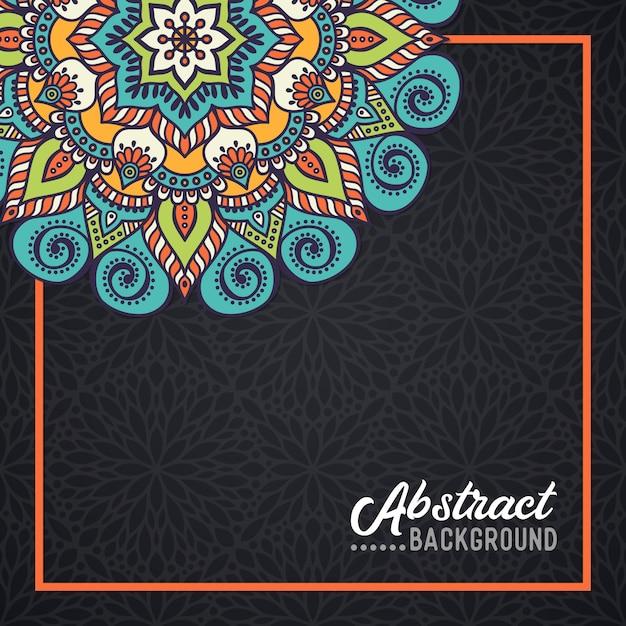 水彩の背景に手描きの曼荼羅 無料ベクター