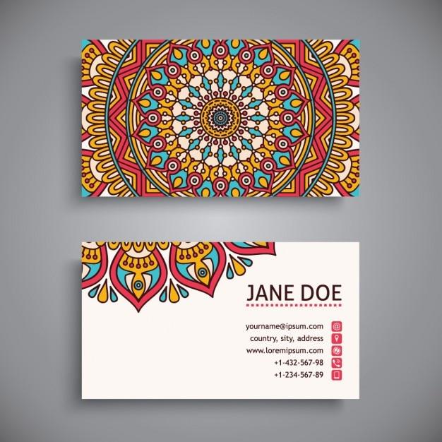визитная карточка Boho стиль Бесплатные векторы