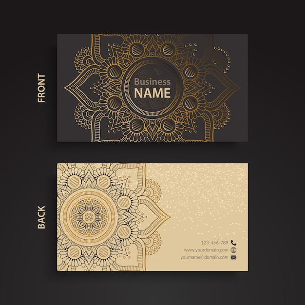 Business card, ethnic style 無料ベクター