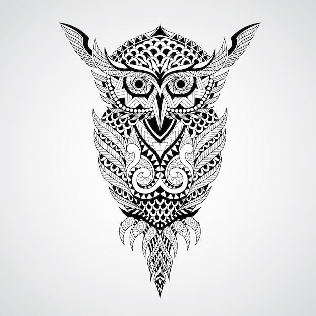 幾何学的なフクロウのデザインの背景 無料ベクター