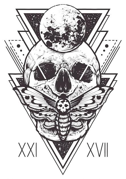 Дизайн сакральной геометрии черепа Бесплатные векторы