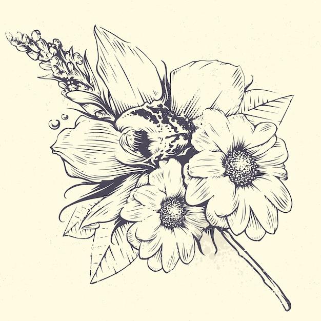 花のデザイン 無料ベクター