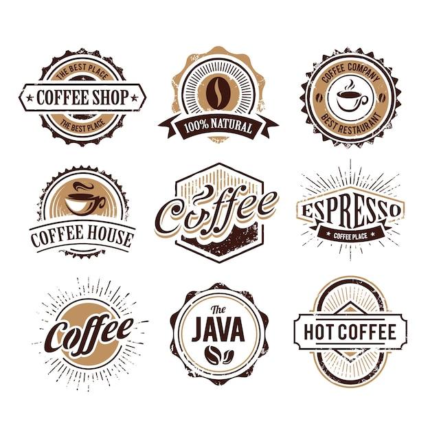コーヒーロゴコレクション 無料ベクター