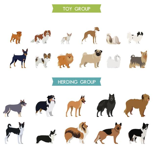 犬のコレクションデザイン 無料ベクター
