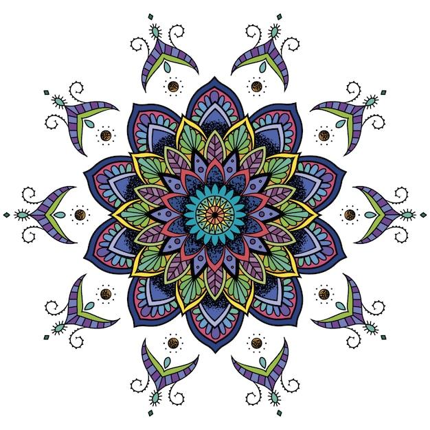 多色の曼荼羅のデザイン 無料ベクター