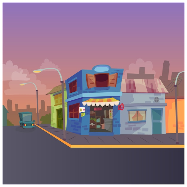 都市の通りのイラスト 無料ベクター