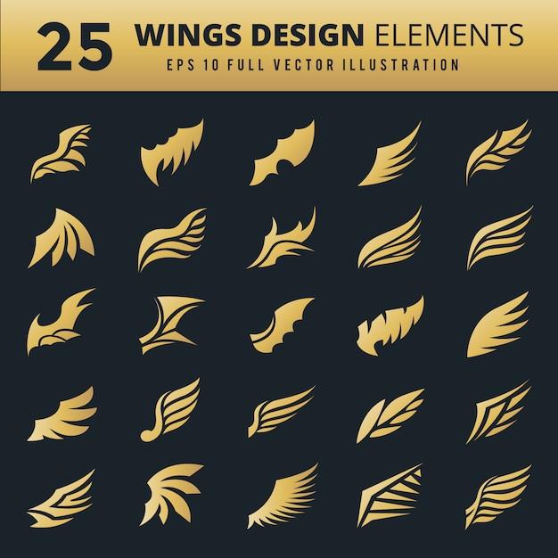 装飾の翼コレクション 無料ベクター