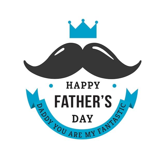 День отца с усами Бесплатные векторы