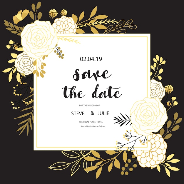 Черно-белая свадебная открытка с цветочным дизайном Бесплатные векторы