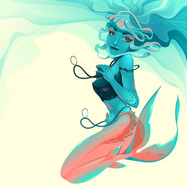 宝石を持つ人魚のイラスト ベクター画像 無料ダウンロード