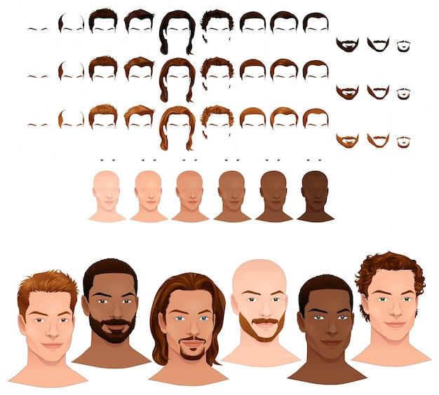 Мужской аватары 8 причесок и 3 лицевые волосы в 3-х различных цветов 6 цветов глаз 6 тонов кожи для нескольких комбинаций в этом изображении некоторые предварительные просмотры векторный файл изолированных объектов Бесплатные векторы