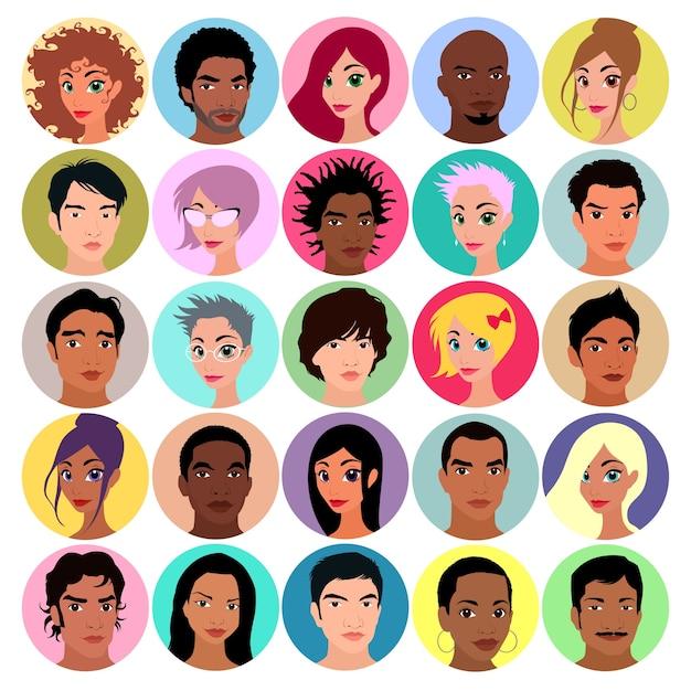 女性と男性のアバターのコレクションフラットな色のベクトルのイラスト 無料ベクター