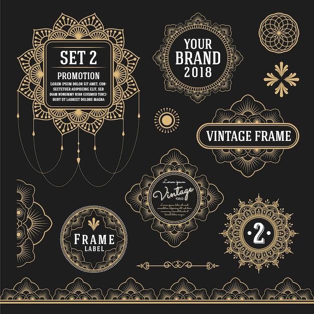 フレーム、ラベル、ロゴのシンボルや装飾のためのレトロなヴィンテージグラフィックデザイン要素のセット 無料ベクター